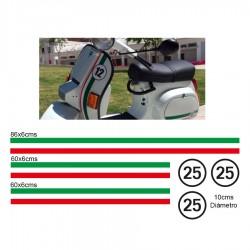 Vespa Italien Flagge Aufkleber