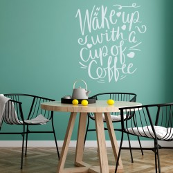 Wake up! coffee vinyl phrase