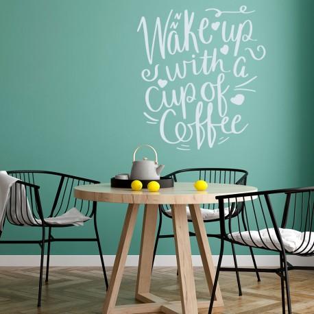 Wake up! frase vinilo café