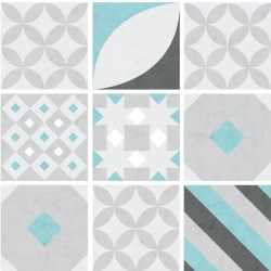 Turquoise hydraulic tiles