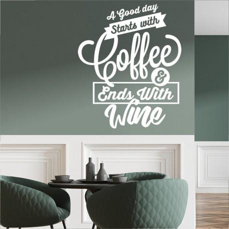 Lustiger Satz Kaffee und Wein
