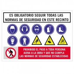 Cartel normas seguridad obra