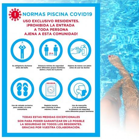 Cartel Adhesivo normas piscina covid-19
