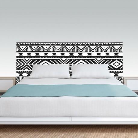 Vinilo para pared cabezal cama dormitorio de estilo mudcloth