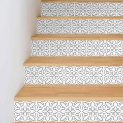 Adhesive vinyls with hydroulilca tile style design