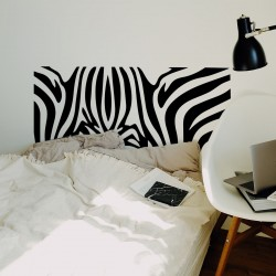 Cabecero dormitorio de vinilo para pared cebra