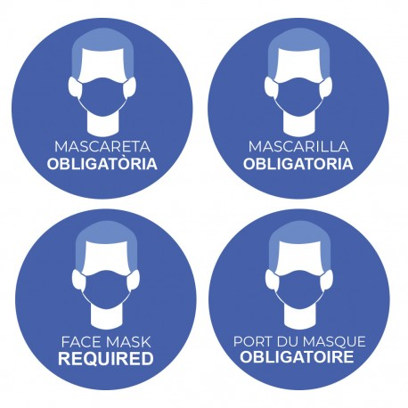 Adhesivo uso obligado de mascarillas varios idiomas