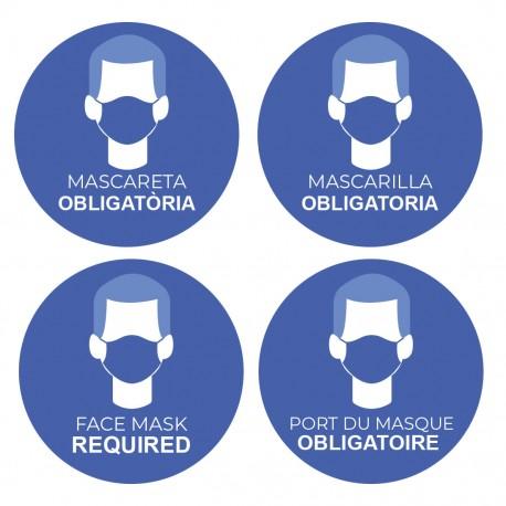 Utilisation obligatoire adhésive de masques multilingues