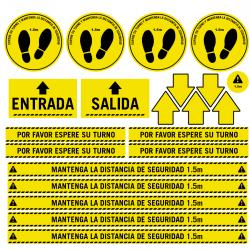 Pack vinilos antideslizantes para suelo distancias seguridad