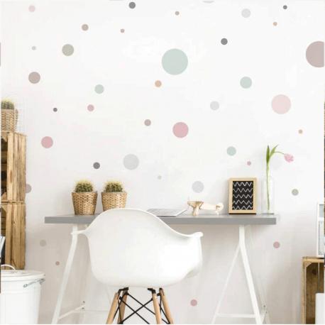 Pois de couleur pastel pour mur