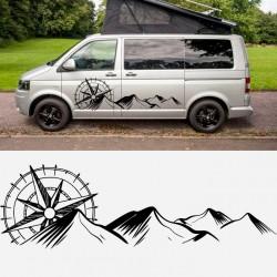 Autocollants de montagnes de campeur