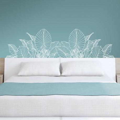Cabecero dormitorio de vinilo para pared floral
