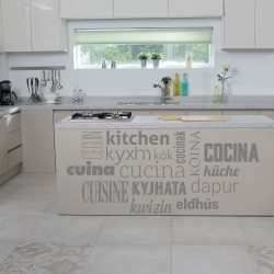Vinilo con nombres de cocina en varios idiomas