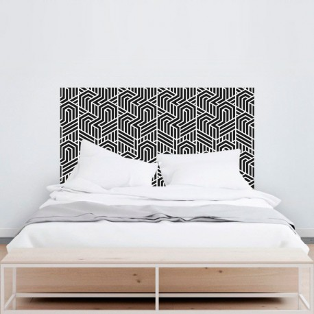 Vinilo para pared cabezal dormitorio geometrico
