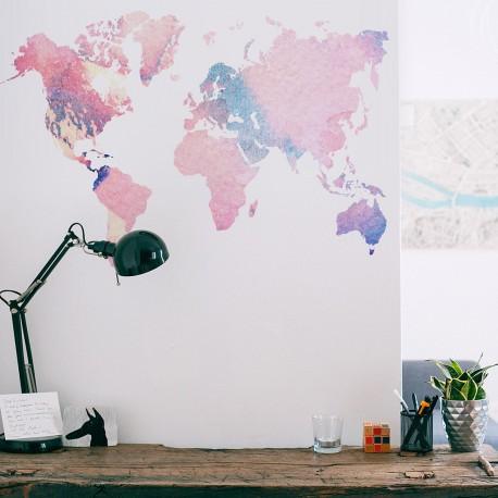Carte du monde aquarelle tons roses