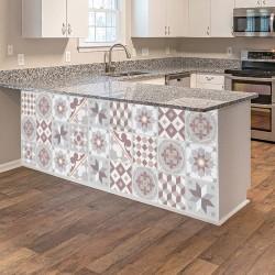 Vinyl sheet warm grey vintage hydraulic tiles
