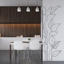 Schöne Pflanze hinterlässt Vinyl für die Wand