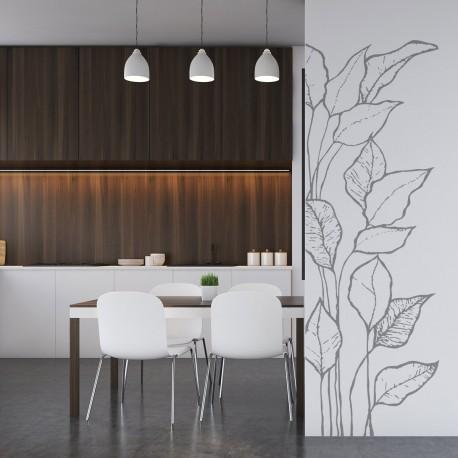 Bonito vinilo de planta hojas para pared