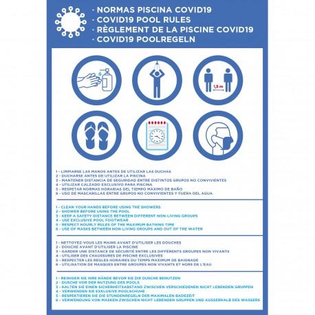 Cartel normas piscina covid-19 para hoteles en cuatro idiomas
