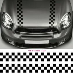 Mini rally hood stripes stickers