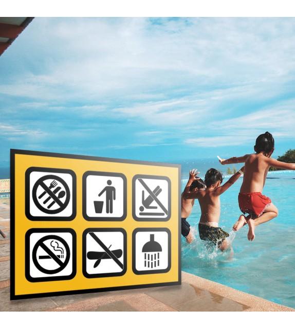 Affiche des règles de la piscine extérieure
