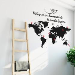 Carte du monde des lieux visités personnalisable