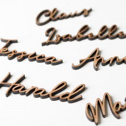 Wooden names for wedding guests
