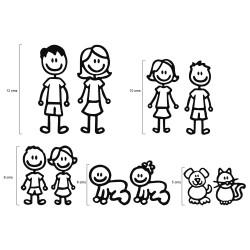 Pegatina figuras familia para coche