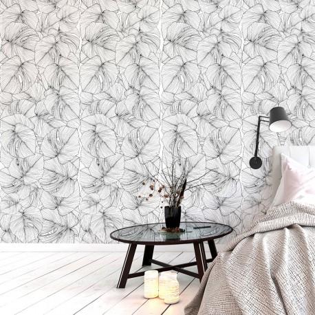 Papier peint floral fantaisie